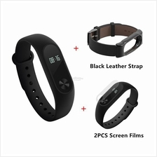 [Bundle + Leather Strap] XIAOMI Mi Band 2 II OLED Display Heart Beat