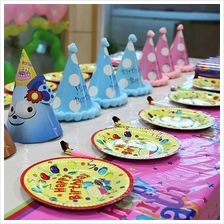 Round Paper Dishes Party Plates 7' Happy Birthday Party(10pcs/pkt)