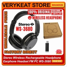 Stereo Wireless Rechargeable Headphone Earphone Headset FM PC WS-3680