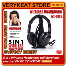 5 in 1 Wireless Headphone HiFi Earphone Headset FM PC TV WS2008