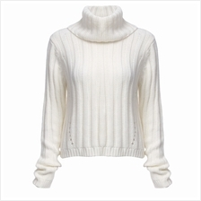 STYLISH TURTLENECK LONG SLEEVE KNITTED PURE COLOR SWEATER