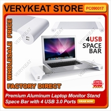 Premium Aluminum Laptop Monitor Stand Space Bar with 4 USB 3.0 Ports