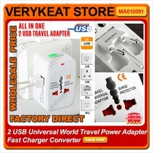 2 USB Universal World Travel Power Adapter Fast Charger Converter