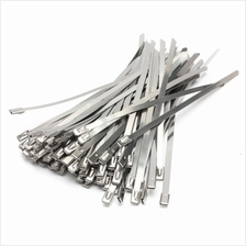 100PCS 7.9 x 400mm Strong Stainless Steel Marine Grade Metal Cable Ties Zip Ti