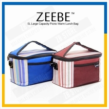 ZEEBE 5L Large Insulated Thermal Lunch Box Warm Cooler Food Bag 1031