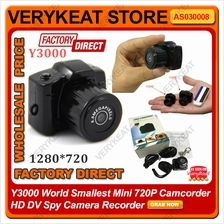 Y3000 World Smallest Mini 720P Camcorder HD DV Spy Camera Recorder