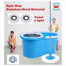 Spin Mop Magic With 2 Heads Stainless Steel Bucket 360 Rotate