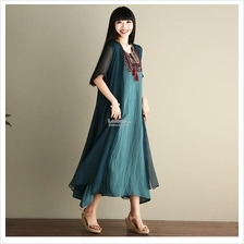 Flower Embroidery Loose Long Dress