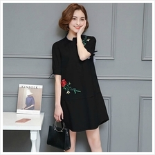KOREA FASHION LONG SLEEVE DRESS BLACK (SIZE XL)