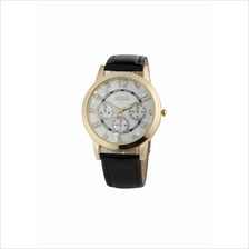 Geneva Analogue Leather Watch Black Gold
