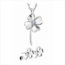 YOUNIQ Lucky Clover 925 Sterling Silver Necklace Set w/Cubic Zirconia