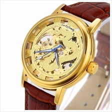 Dragon Design Roman Marker Unisex Manual Winding Leather Watch Gold Br