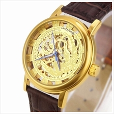 Phoenix Design Roman Marker Unisex Manual Winding Leather Watch Gold C