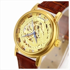 Phoenix Design Roman Marker Unisex Manual Winding Leather Watch Gold B