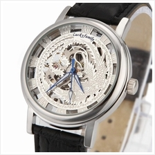 Phoenix Design Roman Marker Unisex Manual Winding Leather Watch Silver