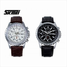 SKMEI 6865 Men''s Military Sports Calendar Quartz Leather Watch
