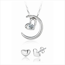 YOUNIQ Moon Lover 925 Sterling Silver Necklace Set with Cubic Zirconia