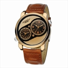 Eyki Overfly EOV8571 Gold Brown Dual Time Leather Watch