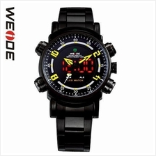 WEIDE DUAL TIME LED WH1101 FULL BLACK SPORT DIGITAL ANALOG WATCH