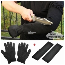 (1 Pair)Anti Cut Arm Sleeves Shield + Cut Resistant Gloves Defence Set