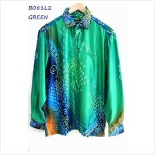 Men Batik Shirt Long Sleeves with Collar (Baju Batik Lelaki Lengan Panjang Ber)