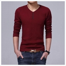 MS0036D Business Casual Solid Color V-Neck Long-Sleeved T-Shirt