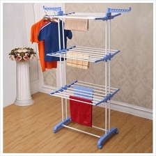 3 Layer Clothes Hanger Drying Rack Portable Foldable Laundry +Wheel
