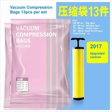 13pcs/set Thick Vacuum Compressed Bag with Hand Pump Quilt Storage Bag)