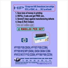 HP FULL range mono toner refill and remanufacture