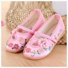 Princess Embroidery Kids Dance Shoe Chinese New Year Cloth Shoes - Pink)
