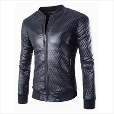 MS0057D Fashion Plaid Collar Washed PU Leather Jacket