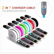 2 in 1 Retractable USB Fast charging & Data Cable For Iphone Xiaomi