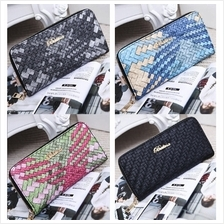 PU Leather Weave Zipper Wallet (6 Colours Available)