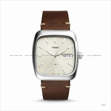 FOSSIL FS5329 Men's Rutherford Day-Date Square Leather Strap Brown