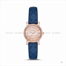MICHAEL KORS MK2696 Petite Corie 3-hand Leather Strap Rose Gold Blue