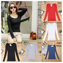 Korean hot sale Long Sleeved Sleeve t shirt blouse baju women girl