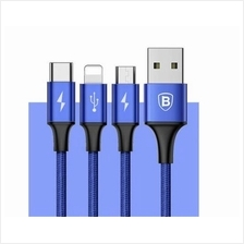 3 in 1 Iphone Micro Type C Baseus 3A Rapid Fast Charging Phone Cable