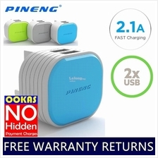 PINENG Fast Charging 2.1A Dual USB UK Standard Adapter Charger PN-501