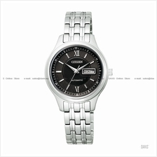 CITIZEN . PD7151-51E . Automatic . W . Day-Date . Pair . SSB . Black