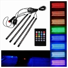 18 LED Car RGB LED Strip Light 4 in 1 Music Control Atmosphere Lamp