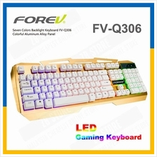 FOREV LED Rainbow Gaming Keyboard 7 Backlight Keypad Aluminium FV-Q306