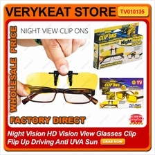 Night Vision HD Vision View Glasses Clip FLip Up Driving Anti UVA Sun