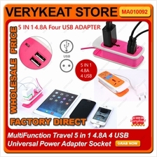 MultiFunction Travel 5 in 1 4.8A 4 USB Universal Power Adapter Socket