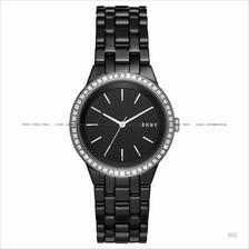 DKNY NY2529 Women's Park Slope 3-hand Glitz Ceramic Bracelet Black