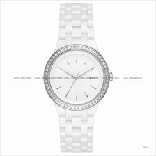 DKNY NY2528 Women's Park Slope 3-hand Glitz Ceramic Bracelet White