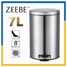 ZEEBE Dustbin Round Step Trash Can Polished Stainless Steel Office 7L