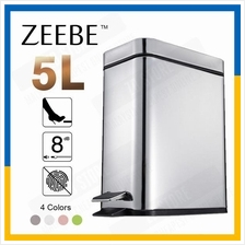 ZEEBE Dustbin Step Trash Can Polished Stainless Steel Office 5L