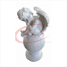 POLYRESIN WHITE COLOR SITTING ANGEL  H 49 CM CM WITH WINGS (39B)