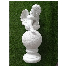 POLYRESIN  WHITE COLOR SITTING ANGEL H 49 CM CM WITH WINGS (39A)
