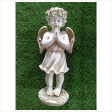 POLYRESIN CREAM WHITE COLOR STANDNIG ANGEL H49 CM CM WITH WINGS (ABAB)